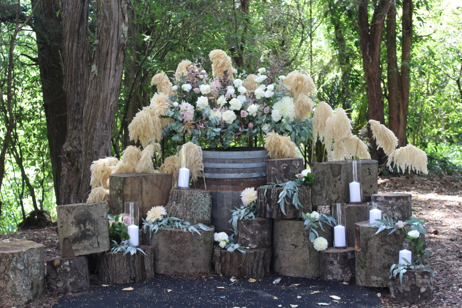 Ceremony Florals with NZ Native Toetoe